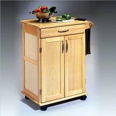 Home Styles 504095 Paneled Door Kitchen Cart Natural