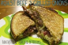 Roast Beef & Grilled Onions | A grown up grilled cheese with hearty roast beef and two cheeses #recipe