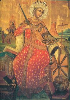 Saint Catherine of Alexandra: 16th Century icon of St. Catherine (from the iconostasis of the Katholikon)