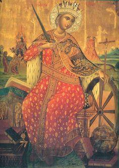 Saint Catherine of Alexandra: 16th Century icon of St. Catherine (from the iconostasis of the Katholikon)