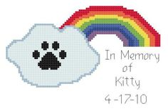 In Memory of Your Beloved Kitty Cat Rainbow Bridge Counted Cross Stitch Pattern PDF. $3.00, via Etsy.