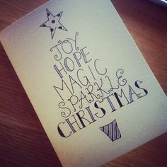 Christmas word tree card doodle