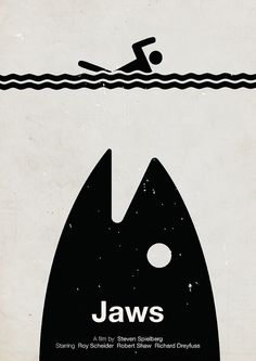 An artist's minimalist take on a Jaws movie poster.