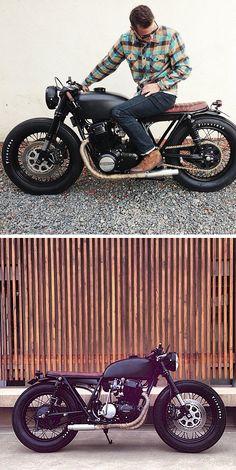 Matte black Honda CB brat cafe
