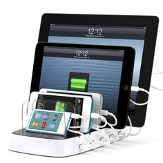 Charge your iPod, iPhone, and iPad with this awesome, super-organized power dock. More tech products that make life easier: http://www.womenshealthmag.com/life/gadgets-that-make-life-easier