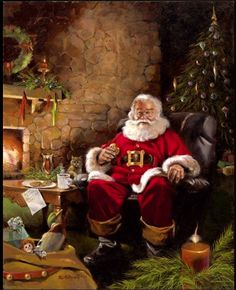 "Santa eating a cookie (again, no credits  :(  )  This is beautifully done.  (including the ""hidden"" picture .. . . . . )."