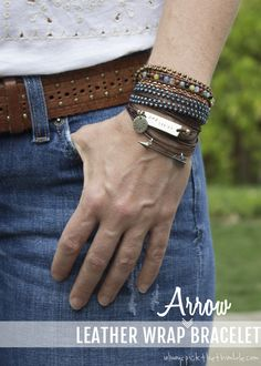 Leather Wrap Arrow Bracelet wrap arrow, word bracelet, arrow bracelet