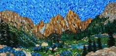 """Cascade Canyon"", stained glass mosaic, 24"" x 48"",2013 by Kasia Polkowska Visit Kasia Mosaics on Facebook to see more work and lots of process shots: https://www.facebook.com/KasiaMosaics"