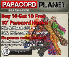 This deal is a perfect TEN. Buy ten 10' hanks of paracord and get ten more FOR FREE. *To view our 10' hank selection, go here: bit.ly/1yUNJjv #paracord #buy10get10 #free #parachute #cord #prepper #survival #craft #diy #tying #knotting