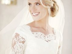 Lace Elbow Sleeve Modest Wedding Dress