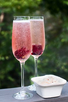 Hibiscus flowers Cocktail  with Proseco