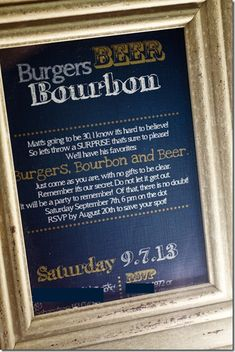 Burgers, Bourbon and Beer– A Surprise 30th Birthday Party
