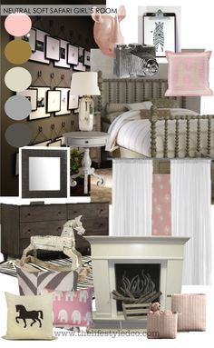 Soft, Neutral, pink and gray girl's room via THE LifeStyled COMPANY! Inspiration Board, mood board, Faux Fireplace, chalkboard, pink and gray, white, gray and white, contemporary bedroom, kids room, feminine room, horses, safari, animal theme, animals, animal print, gray print, gallery wall, Pottery Barn, Monogram