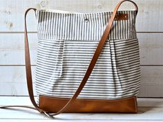 BEST SELLER Diaper bag / Messenger bag STOCKHOLM Gray  geometric nautical striped  Leather / Ikabags Featured on The Martha Stewart