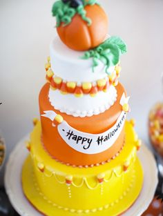 Candy corn cake and a Halloween candy bar for your party