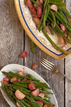A chile-infused honey compliments the spicy radishes and gives the green beans some sweet heat in this green bean and radish salad.