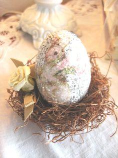 Porcelain Rose Easter eggs, Easter bird nest, DIY Easter ornaments, Easter Table Setting  #2014 #Easter #Day #DIY #decor #craft #ideas www.loveitsomuch.com
