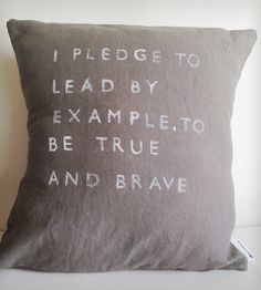 """Lead By Example"" Linen Pillow 