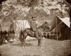 "Antietam:   Allan Pinkerton (""E.J. Allen"") of the Secret Service on horseback. Antietam, Maryland, main eastern theater of the war, September-October 1862. Glass negative (wet collodion). Photograph by Alexander Gardner."