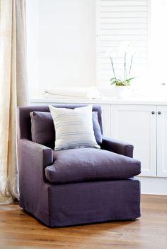 Charcoal linen slipcovered armchair www.lavenderhillinteriors.com.au