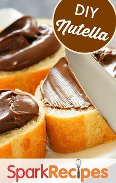 DIY #healthy Nutella!! Oh wow this is soooooooooo good!! And so easy to make! | via @SparkPeople #dessert #snack #DIY #nutella