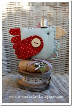 Bird pincushion and scissors keeper-