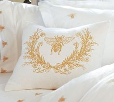 love this bee bedding! guest room, bee pillow, queen bee, bed, barns, pillow covers, pottery barn, honey bees, linen