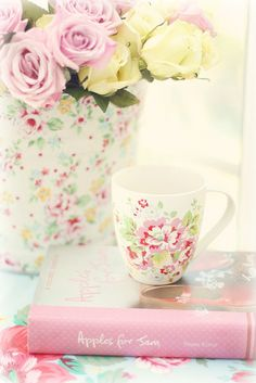 by the window by lucia and mapp, via Flickr.  #roses #cath_kidston #china #dishes #floral