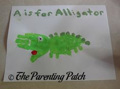 A Is for Alligator Handprint Craft | Parenting Patch