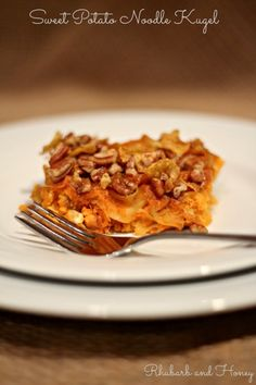 Slice of Sweet Potato Noodle Kugel - this has coconut sugar, golden raisins and apricots in it... looks mighty fine for Thanksgivukkah time!