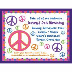 Peace Sign Birthday Invitation