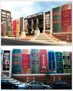 Jess Bright Design: Kansas City Library, Missouri, USA. The book covers that are depicted on the outside of the building were chosen by the public as the best literary representations of Kansas (via viahouse.com)