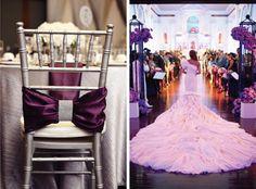 Purple Wedding Chair Sash & Bridal Gown
