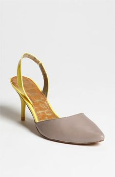 grey & yellow slingback pump
