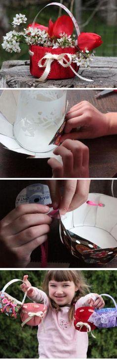 Colorful DIY Flower Baskets   diy craft TUTORIALS