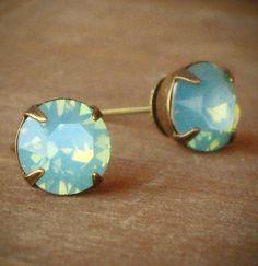 Seafoam Green Opal Rhinestone Stud Earrings Mint