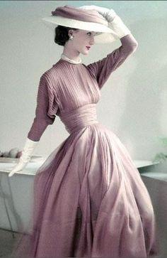 Evelyn Tripp 1952 woman fashion, vintage womens clothing, vintag fashion, dress, vintag style, 1950s fashion women, pretti, hat, vintage style