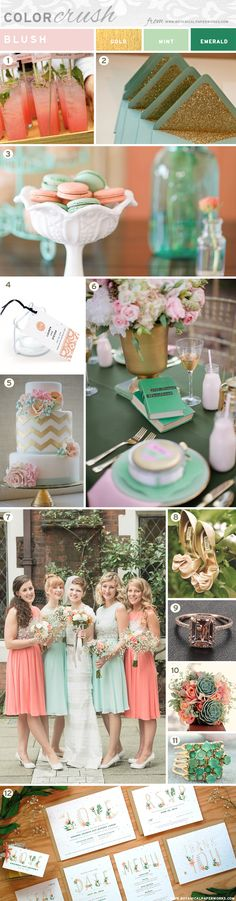 We're totally crushing on the color blush for weddings right now. Check out this color palette power house and be inspired by the many great ideas for Spring and Summer weddings!  #Emerald #Mint #Gold