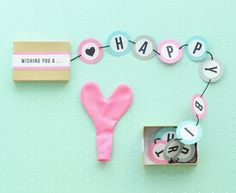 DIY happy birthday banner box from Oh Happy Day! Nice snail mail.