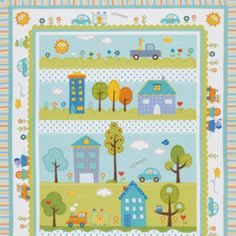 Dena Fishbein - Happi - Panel Quilt in Blue