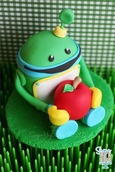Fondant Bot Cake Topper by SugarHighInc on