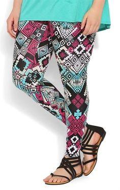 Deb Shops Plus Size Jade and Magenta Tribal Print #Legging $12.50