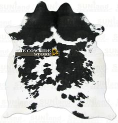 Black and White Hair-On Cowhide Rug - 78 in x 74 in