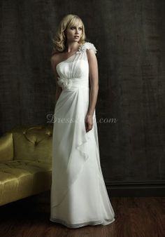vintage floral draping one shoulder Court Train wedding dress - Dress2015.com