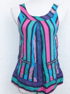 Marc-by-Marc-Jacobs-size-2-striped-sleeveless-tunic-tank-top-pink-green-stripes