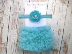 Turquoise Baby Girl Ruffle Bloomers and Shabby headband set .. Baby bloomers .. Ruffle bloomers .. Baby girl headband .. Photo prop. $17.95, via Etsy.