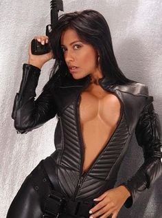 Hot Girl With Gun In Leather
