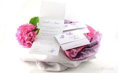 Pink Fuchsia wedding invitation card with watercolor butterfly Partecipazioni matrimonio rosa con farfalle Rose Hochzeitseinladungskarten by e-MoVeo Cards www.emoveo-cards.com