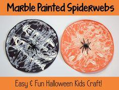 Marble Painted SpiderWebs   really fun and simple Halloween Kid Craft!   #halloween #spider #kidcraft