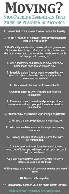 What to do before you move
